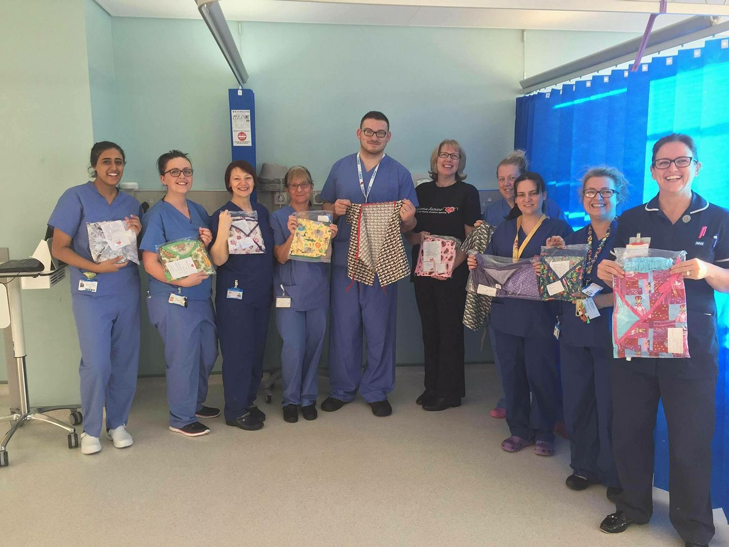 box full of pjs and gowns to the day surgery unit at Huddersfield Royal Infirmary